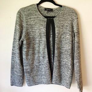 Grey open cardigan metallic sweater